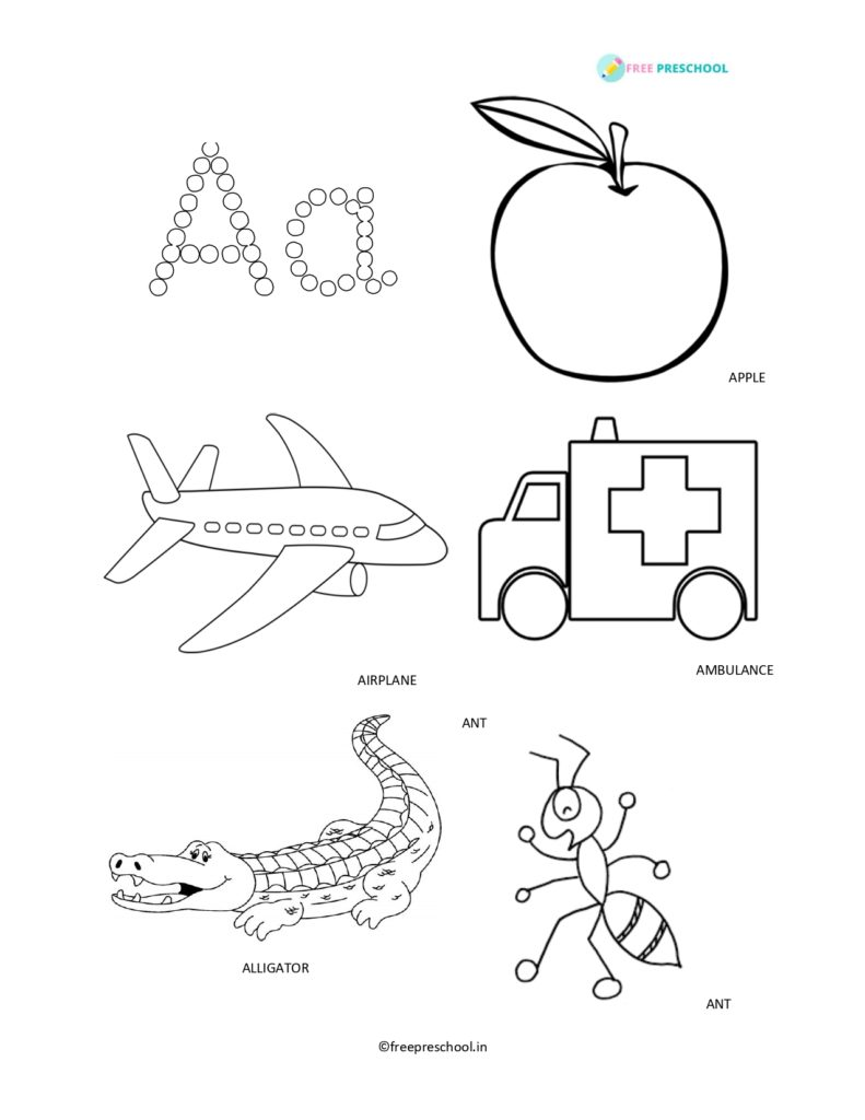 Alphabets coloring Letter Aa