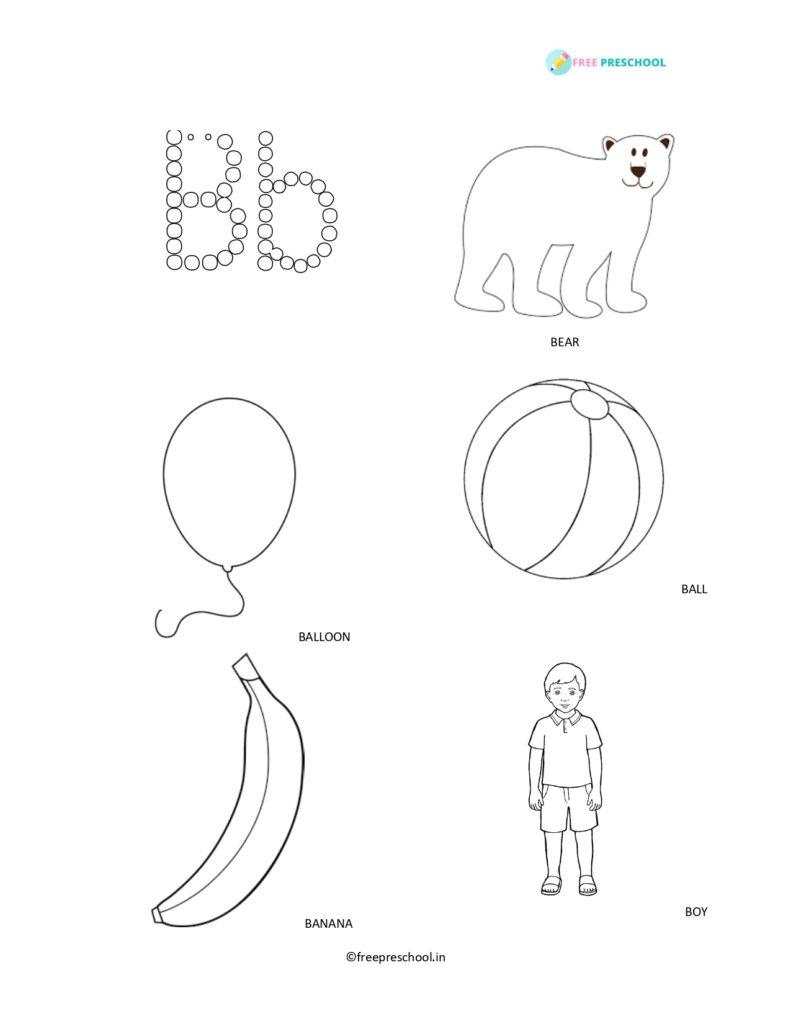 Alphabets coloring Letter B