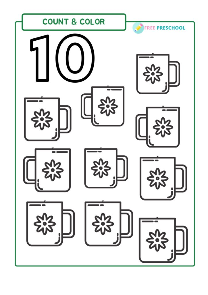 10 Cup Coloring Page