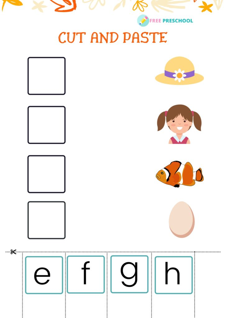 Cut and Paste Worksheet_e to h