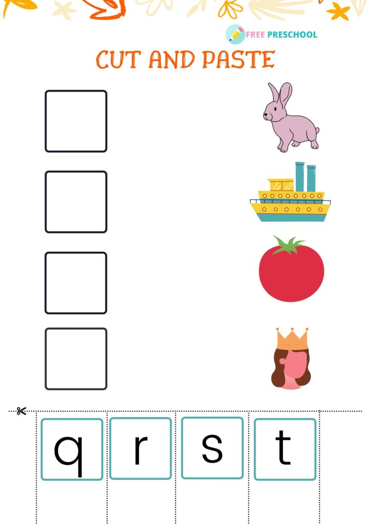 Cut and Paste Worksheet_q to t