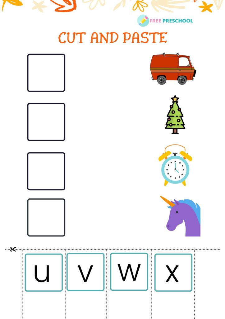 Cut and Paste Worksheet_u to x