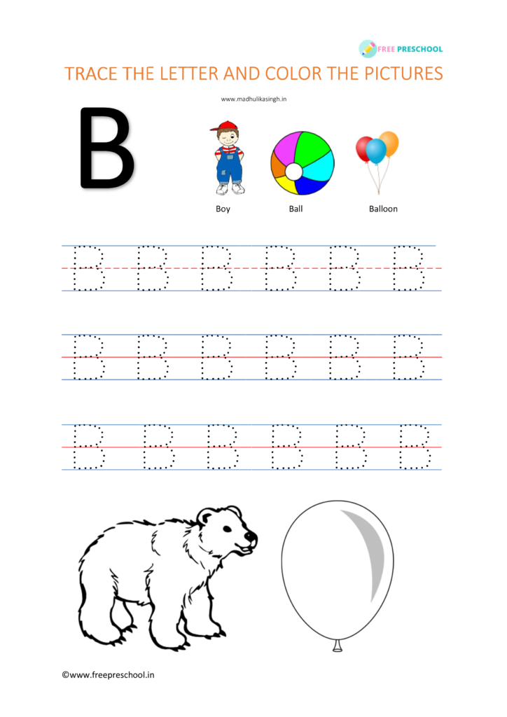 alphabet for tracing B