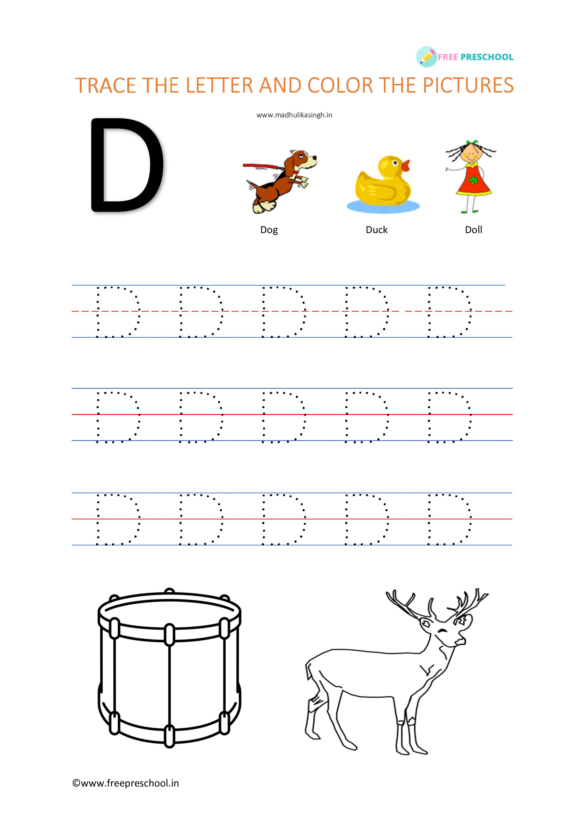 Alphabet Letter Tracing Dd