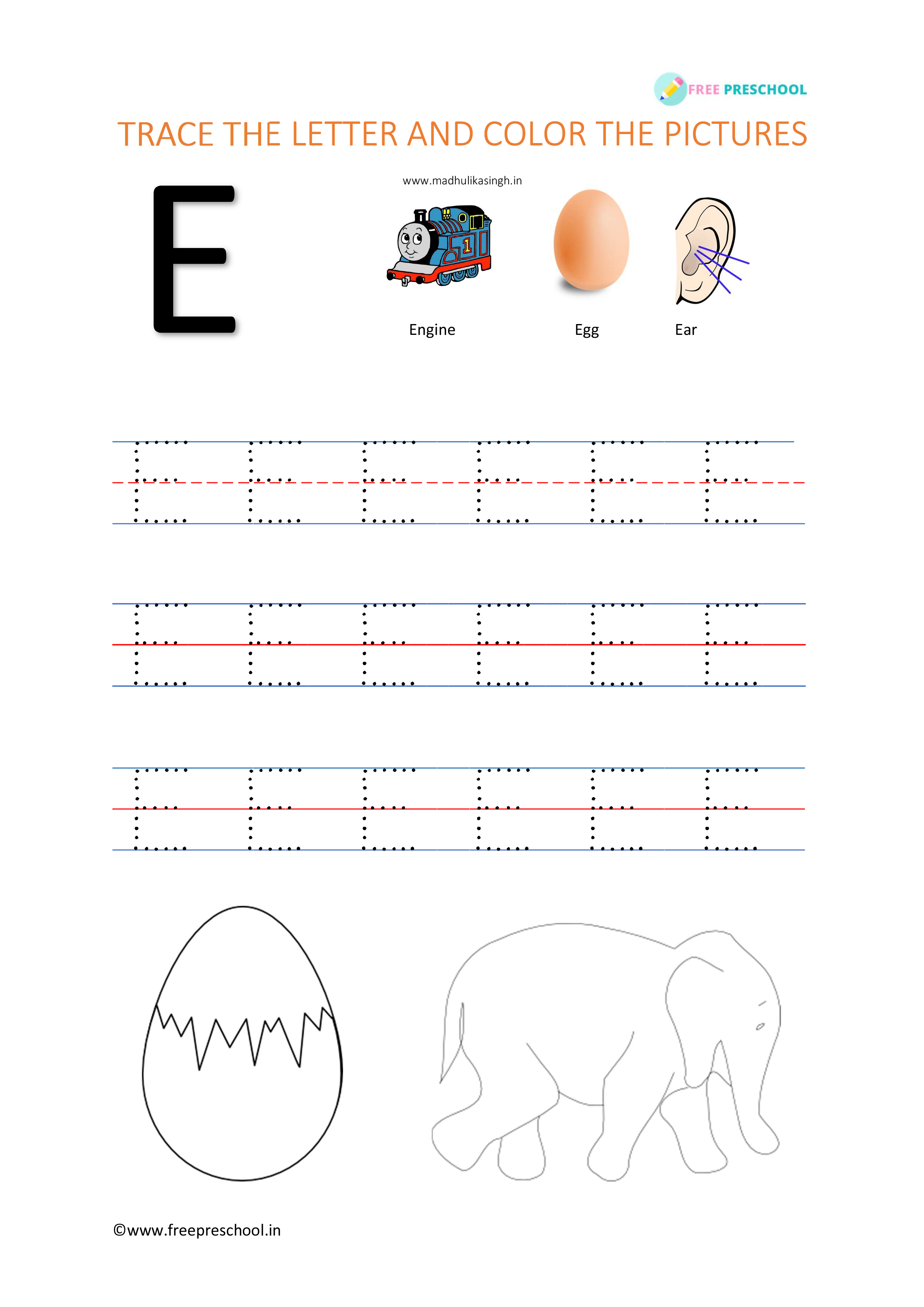 Alphabet Letter Tracing Ee
