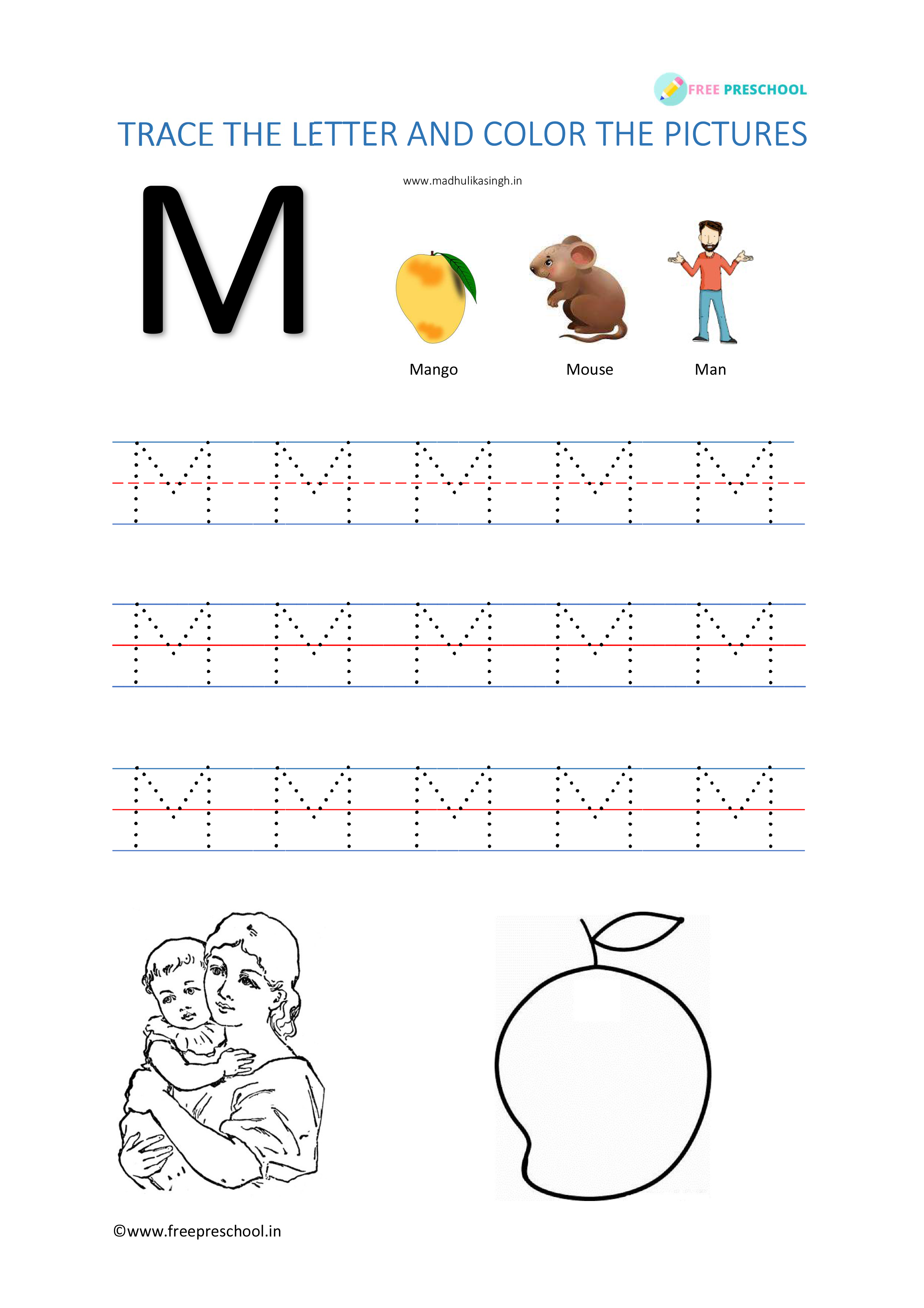 Alphabet Tracing Letter Mm