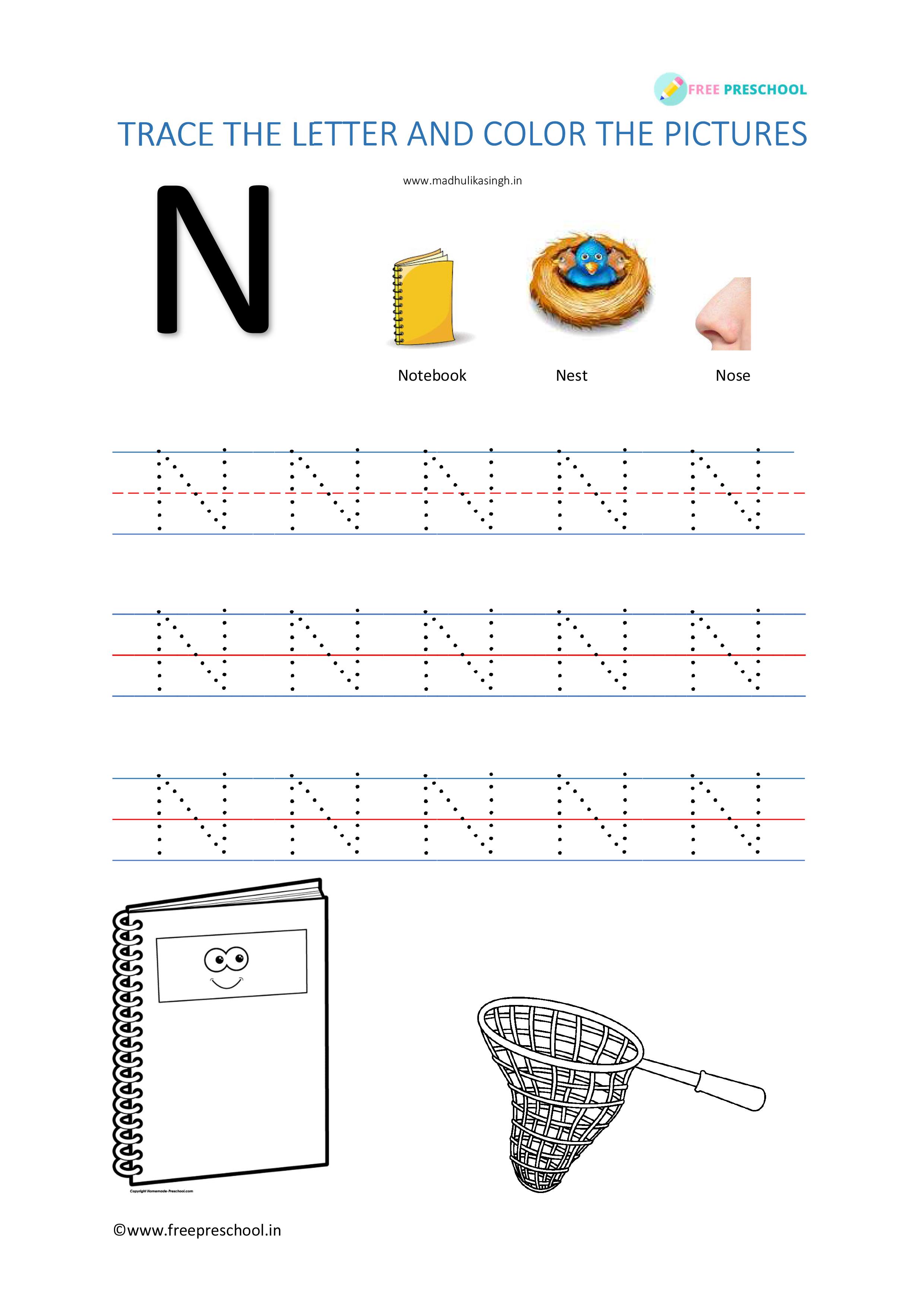 Alphabet Tracing Letter Nn