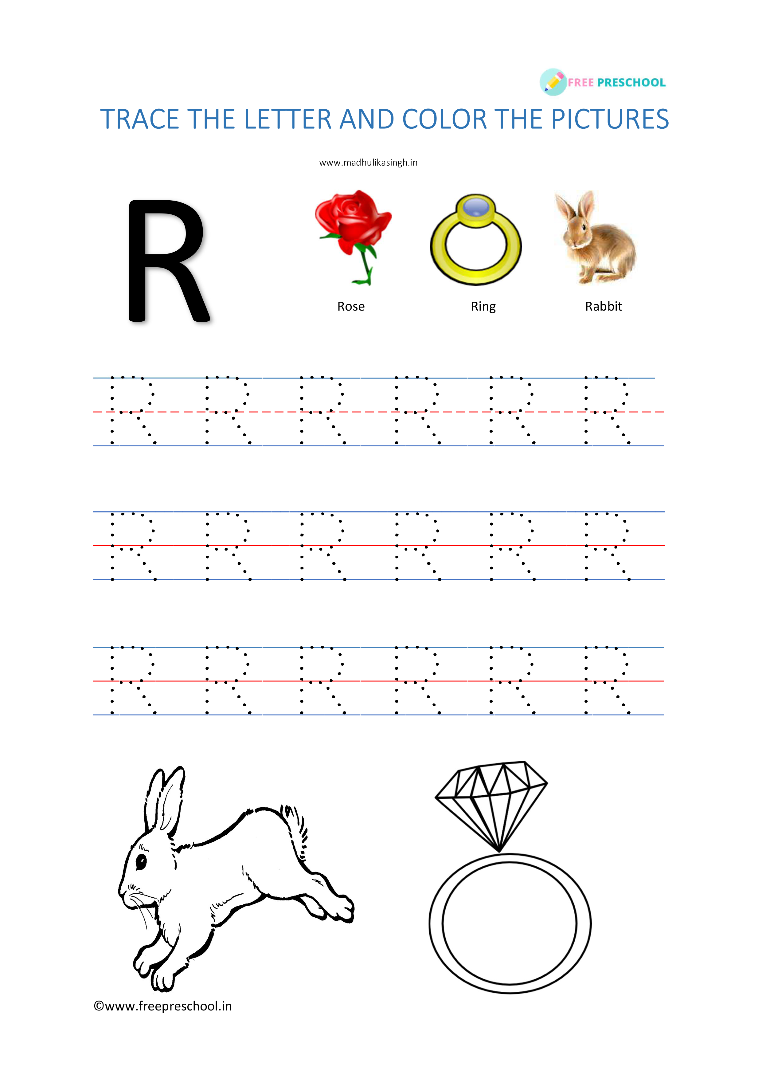 Alphabet Tracing Letter Rr