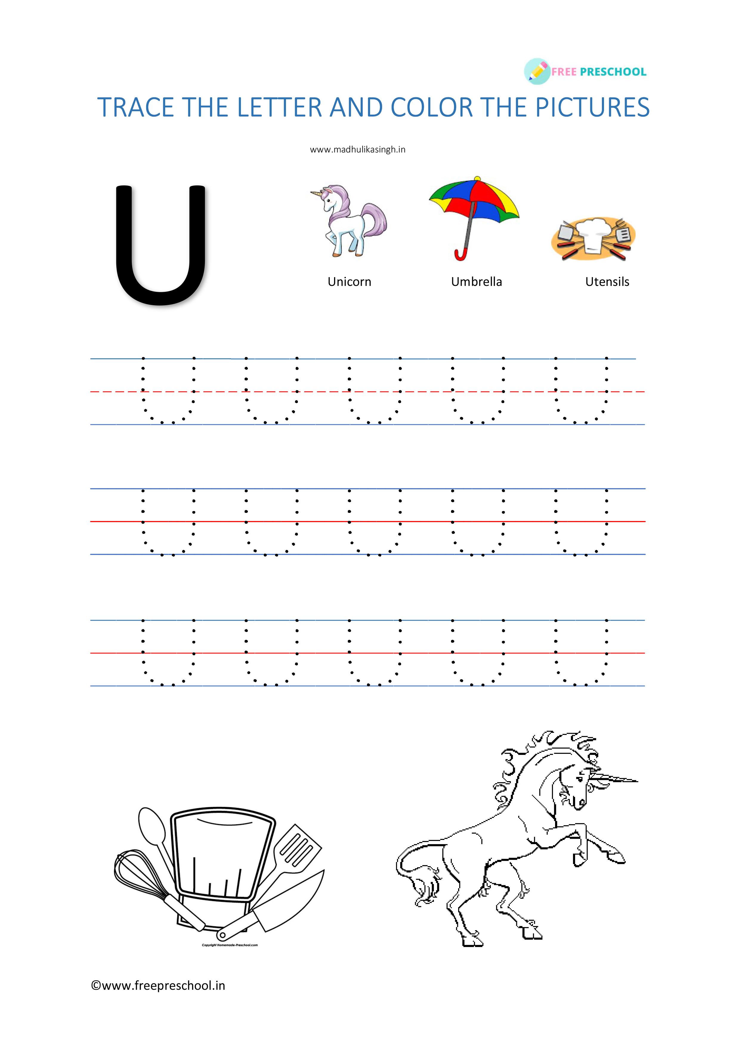 Alphabet Tracing Letter Uu