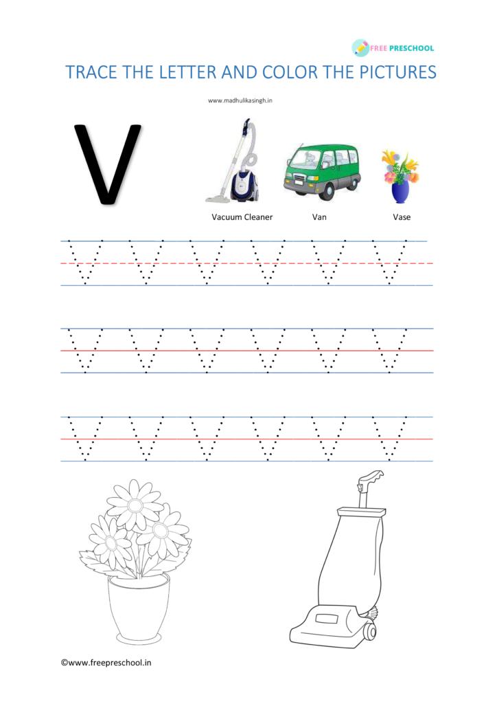 Alphabet Tracing Letter Vv