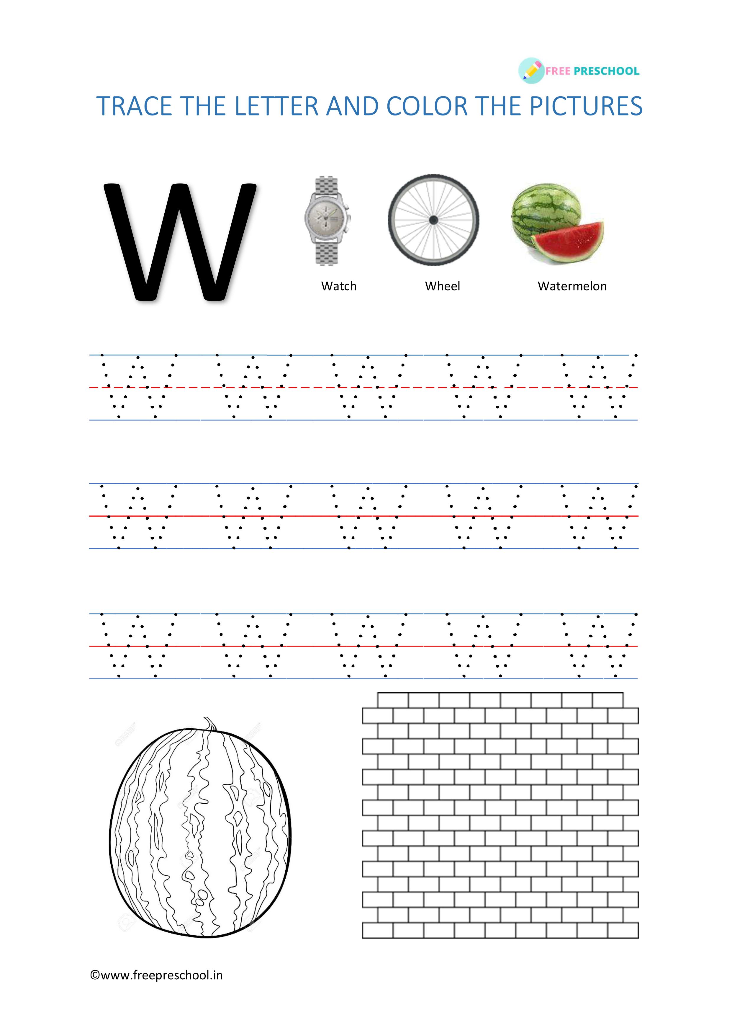 Alphabet Tracing Letter Ww