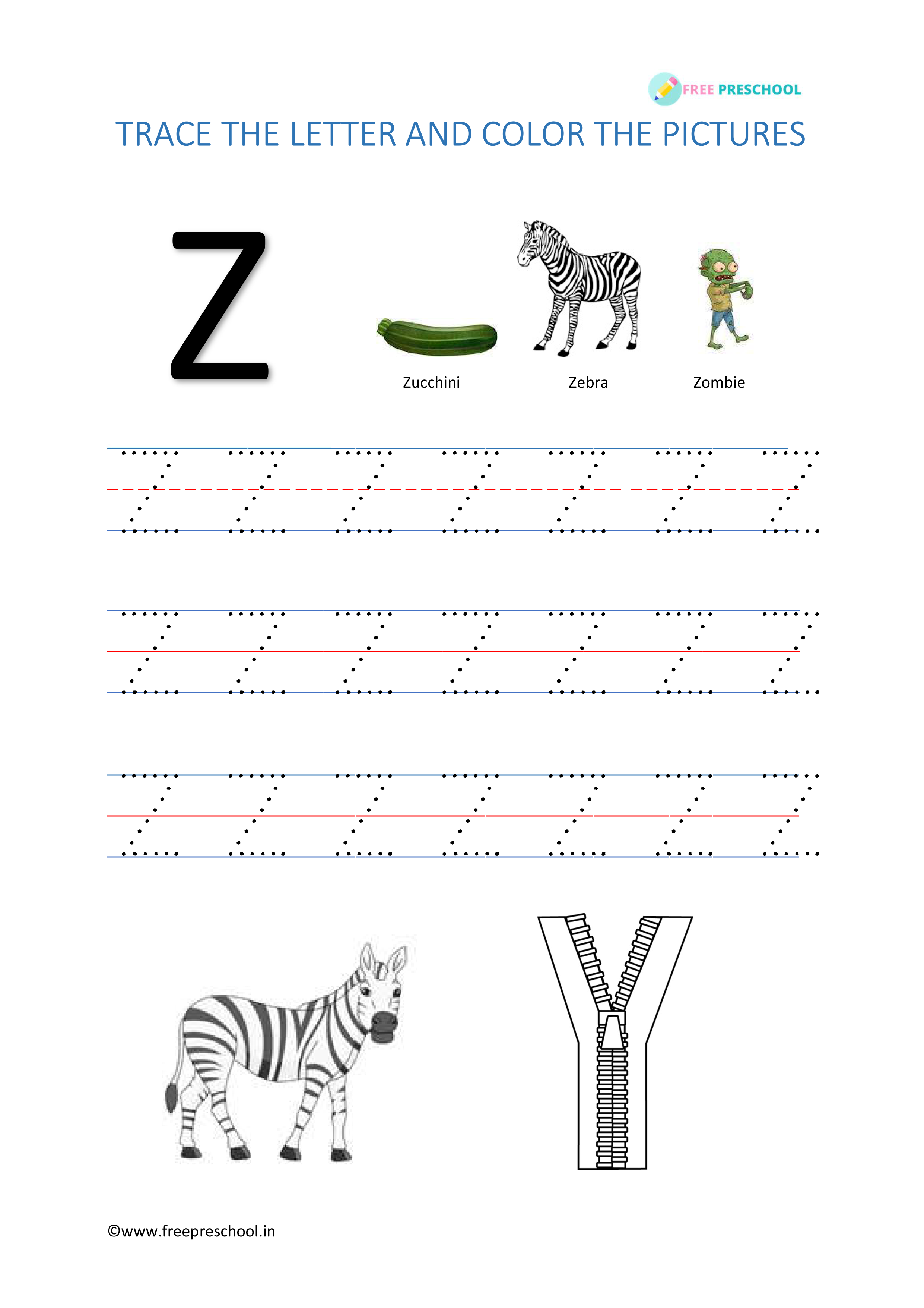 Alphabet Tracing Letter Zz