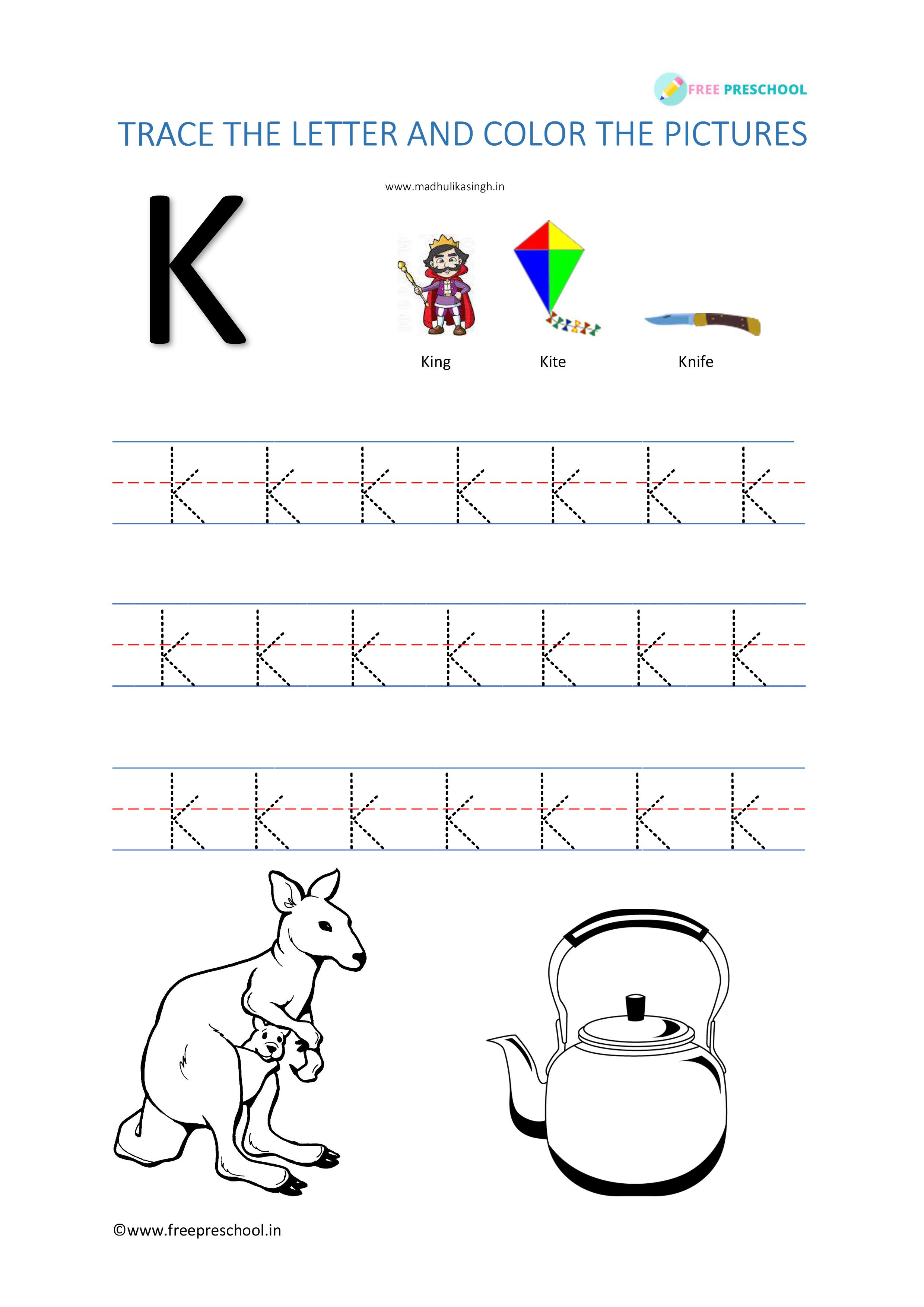 Alphabet Letter Tracing Kk