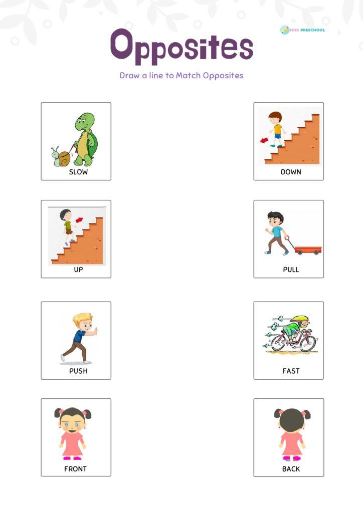 opposites worksheets for kindergarten pdf
