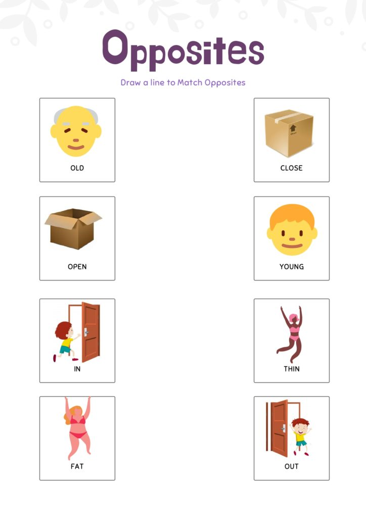 opposite words for kindergarten worksheets