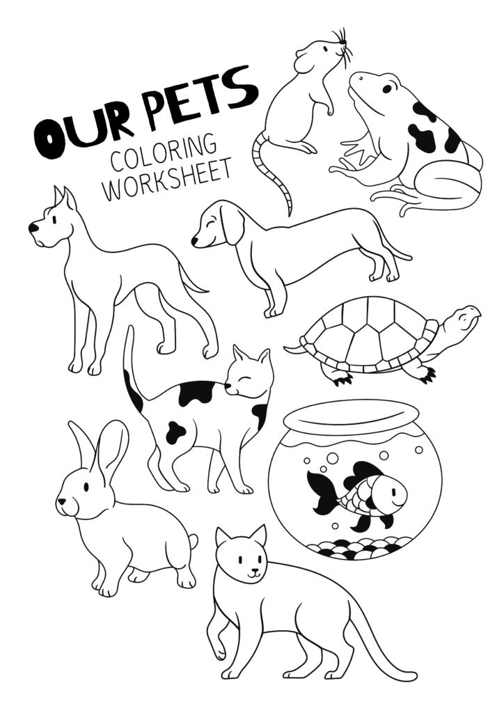 9 Coloring Pages Of Pet Animals For Kids Free Preschool