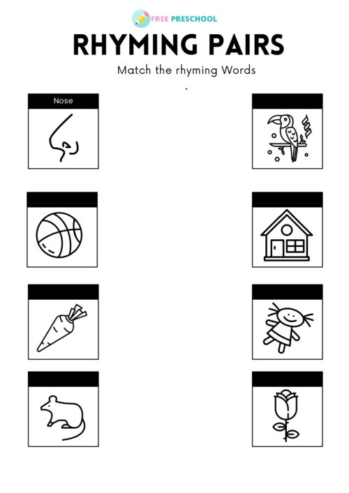 Rhyming Pairs Printable Worksheet 1