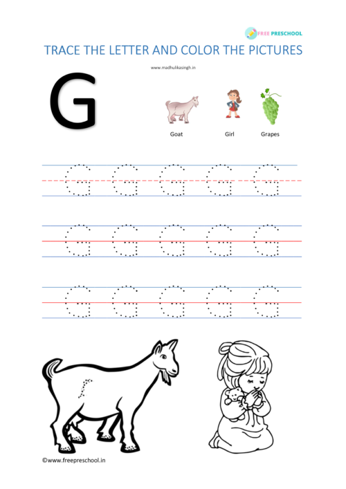 Alphabet Letter Tracing Gg
